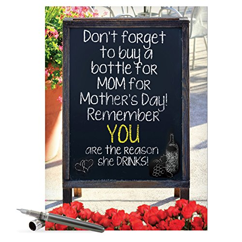 NobleWorks 8.5-Inch X 11-Inch Jumbo Funny Mother's Day Card with Envelope (J7319)