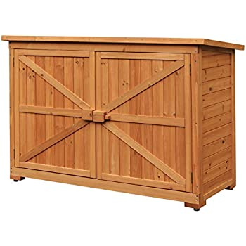 Merax Wooden Garden Shed Wooden Lockers with Fir wood (Natural wood color –Double door # 2)