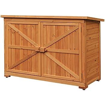Merax Wooden Garden Shed Wooden Lockers With Fir Wood (Natural Wood Color  U2013Double Door