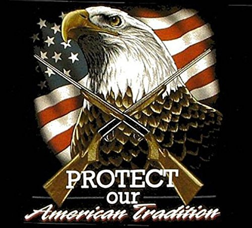 Protect Our American Traditon Black Tee Shirt Size Xl Adult T103 Eagle Flag New (Ladies Police Tie Front Shirt)