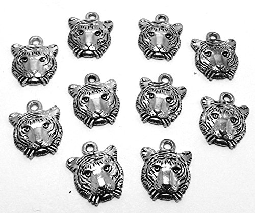 Set of Twenty (20) Silver Tone Pewter Tiger Head Charms