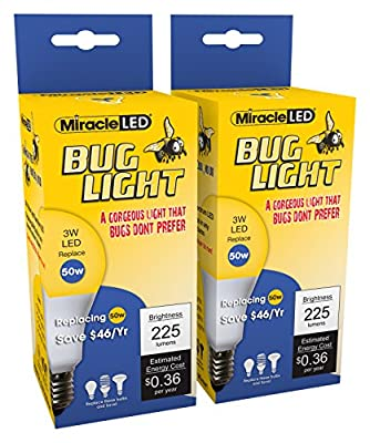 Miracle LED Bug Light Energy Saver Bulb - Replaces Energy Sucking Old Bug Lights for Porch and Patio with Amazing Mellow Yellow Shine (604257) 2-Pack