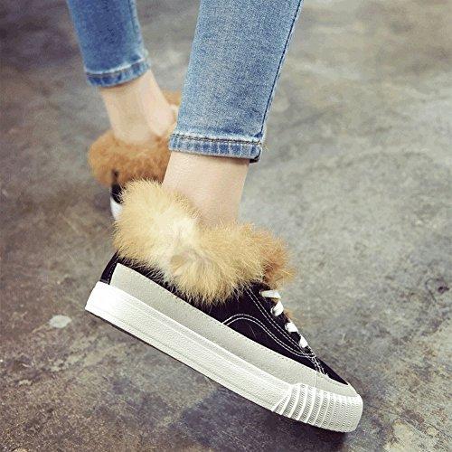 Costura de Cuero de Felpa Zapatos Casuales Mujeres Zapatos de Encaje de Fondo Plano Zapatos a Prueba de Agua , negro , EUR35