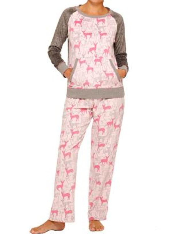 celestial dreams womens pink deer print pajamas fleece pajama set