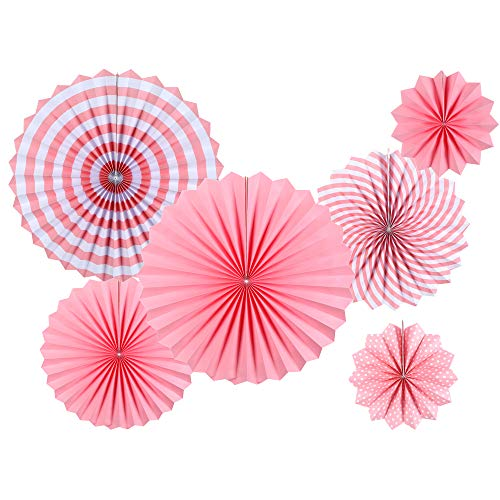 Pink Party Decorations Supplies - Round Party Fan Set - Paper Garlands Hanging Party Decorations - Birthday and Fiesta Party, Cinco De Mayo, Carnival, Christmas, Girl's Room and More, 6pcs -