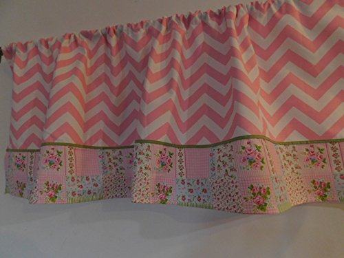 Pink and White chevron, shabby chick sage green piping valance curtain Window treatment decor, Bedroom, dorm, Kids, children, girls nursery, rosebuds, flowers. 54