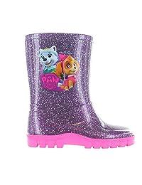 Girls Paw Patrol Glitter Purple Wellies Wellington Rain Boots Sizes UK Child 5-10
