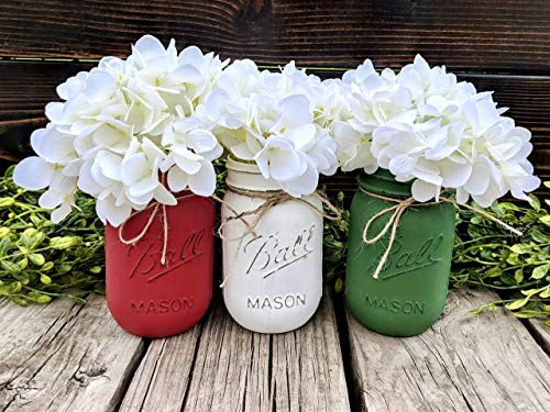 Painted and Distressed Christmas Mason Jars. Pint Canning Jars For Holiday Winter Home Decor