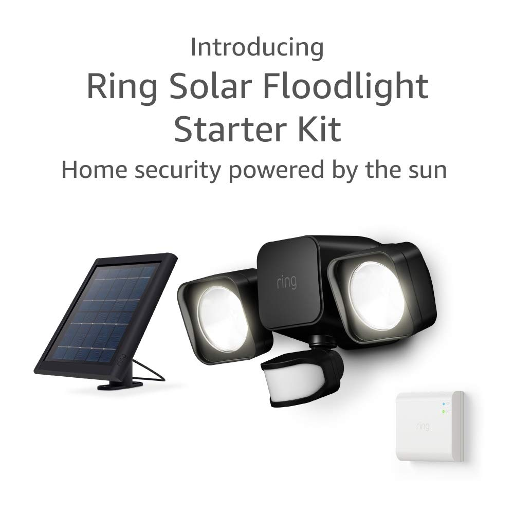 Introducing Ring Solar Floodlight, Outdoor Motion-Sensor Security Light, Black (Starter Kit)