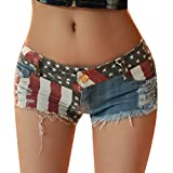 Women Sexy American US Flag Burr Ripped Hole Cut Off Destroyed Jean Denim Shorts