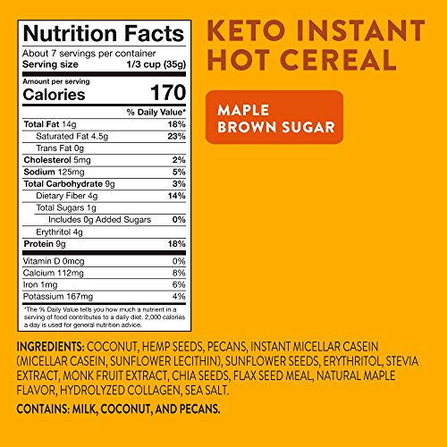 HighKey Snacks Keto Breakfast Cereal - Low Carb Food - Oatmeal & Grits Substitute - High Protein Gluten & Grain Free Snack - Ketogenic Friendly Foods & Products - Diabetic Diet - Maple & Brown Sugar 4