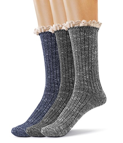 Silky Toes Women's Vintage Thick Warm Winter Casual Boot Socks with Lace -3 Pk (Rib-Black, Navy, Grey)