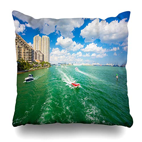 Ahawoso Throw Pillow Cover Square 16x16 Yacht Atlantic USA Florida Miami February 17 Nature Show Ark Parks Bark Bayside Biscayne Bay Boat Design Key Zippered Cushion Case Home Decor Pillowcase ()