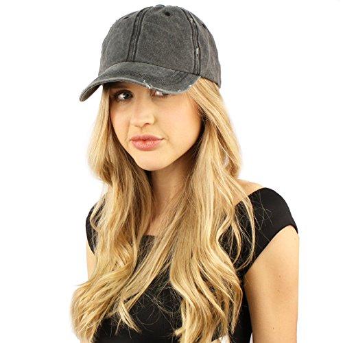 h Denim Summer Cotton Baseball Cap Hat Adjustable Black (Distressed Womens Cap)