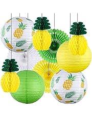 Tacobear Hawaiana Fiesta Decoración Tropical Verano Piña Fiesta Decoración Piña Bola de panal Linternas de papel Abanico Papel Decoración para Luau Verano Playa Suministros Decoraciones para Fiesta