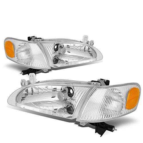 Toyota Corolla Pair Chrome Housing Amber Corner Headlight/Lamps (Chrome Headlight Corolla Toyota)