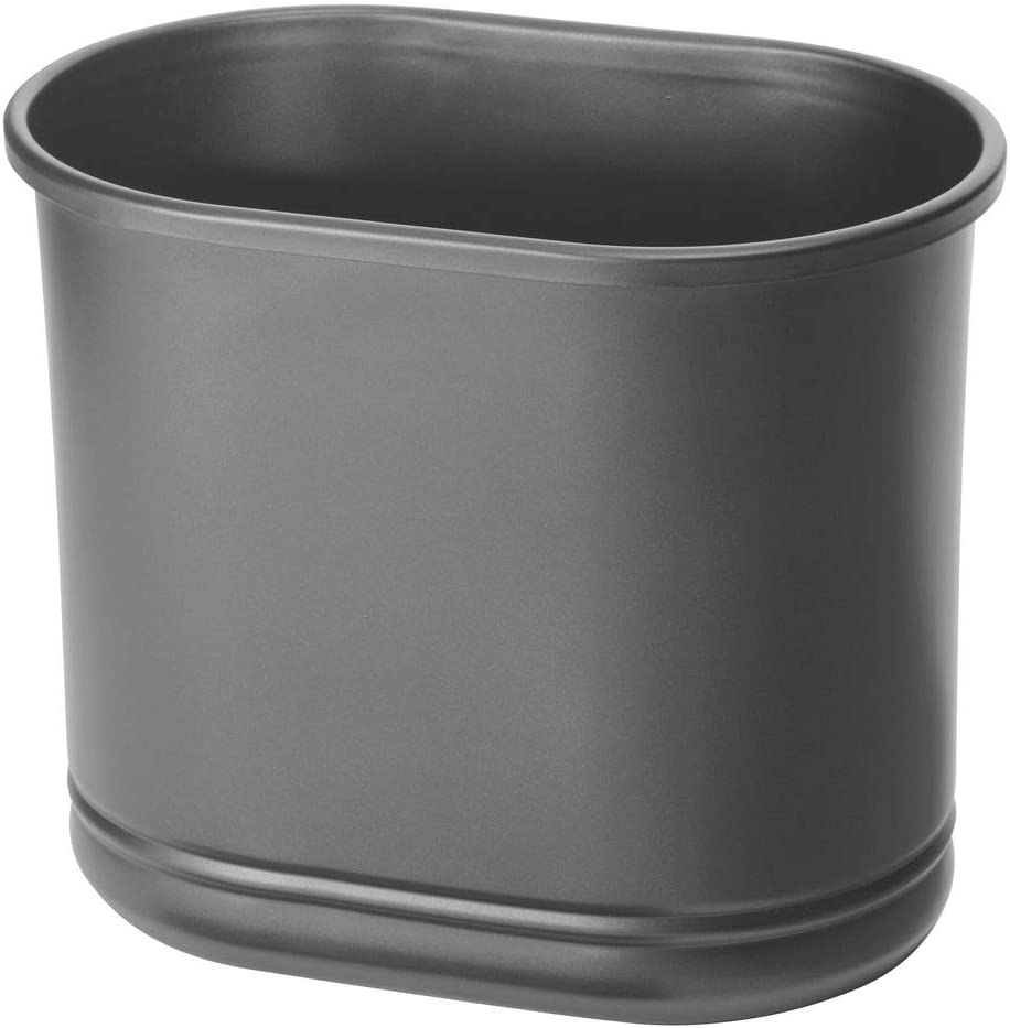 mDesign Slim Oval Metal Trash Can, Small Wastebasket, Garbage Receptacle Bin for Bathrooms, Powder Rooms, Kitchens, Home Offices - Graphite Gray