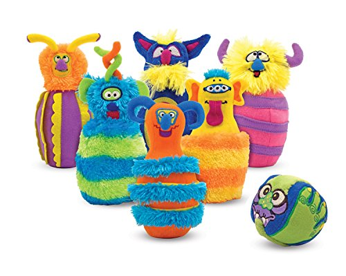Melissa & Doug Monster Plush 6-Pin Bowling Game With Carrying - Set Bowling Weighted