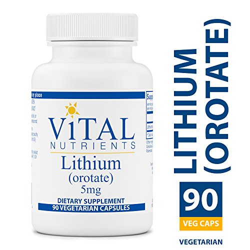 Vital Nutrients - Lithium (Orotate) 5 mg - Supports Mental and Behavioral Health - Gluten Free - 90 Capsules