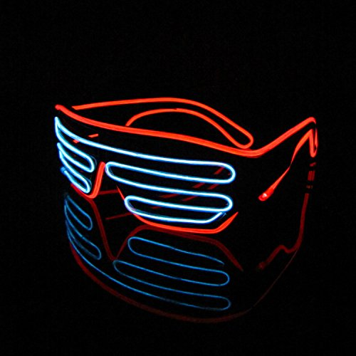 [Lerway Black Frame Neon El Wire LED Light Up Shutter Glasses Two Colors+ Standard Controller (White + Red)] (Ralphie Glasses For Costume)