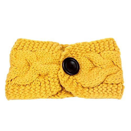 NEEKEY New Crochet Knitted Headband Flower Winter Women Ear Warmer Headwrap YE(Free Size,Yellow) ()