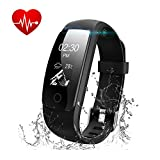 Fitness Tracker with Heart Rate Monitor - Runme Activity Tracker Smart Watch with Sleep Monitor - IP67 Water Resistant Walking Pedometer Band with Call SMS Remind for iOS Android Smartphone (Black)