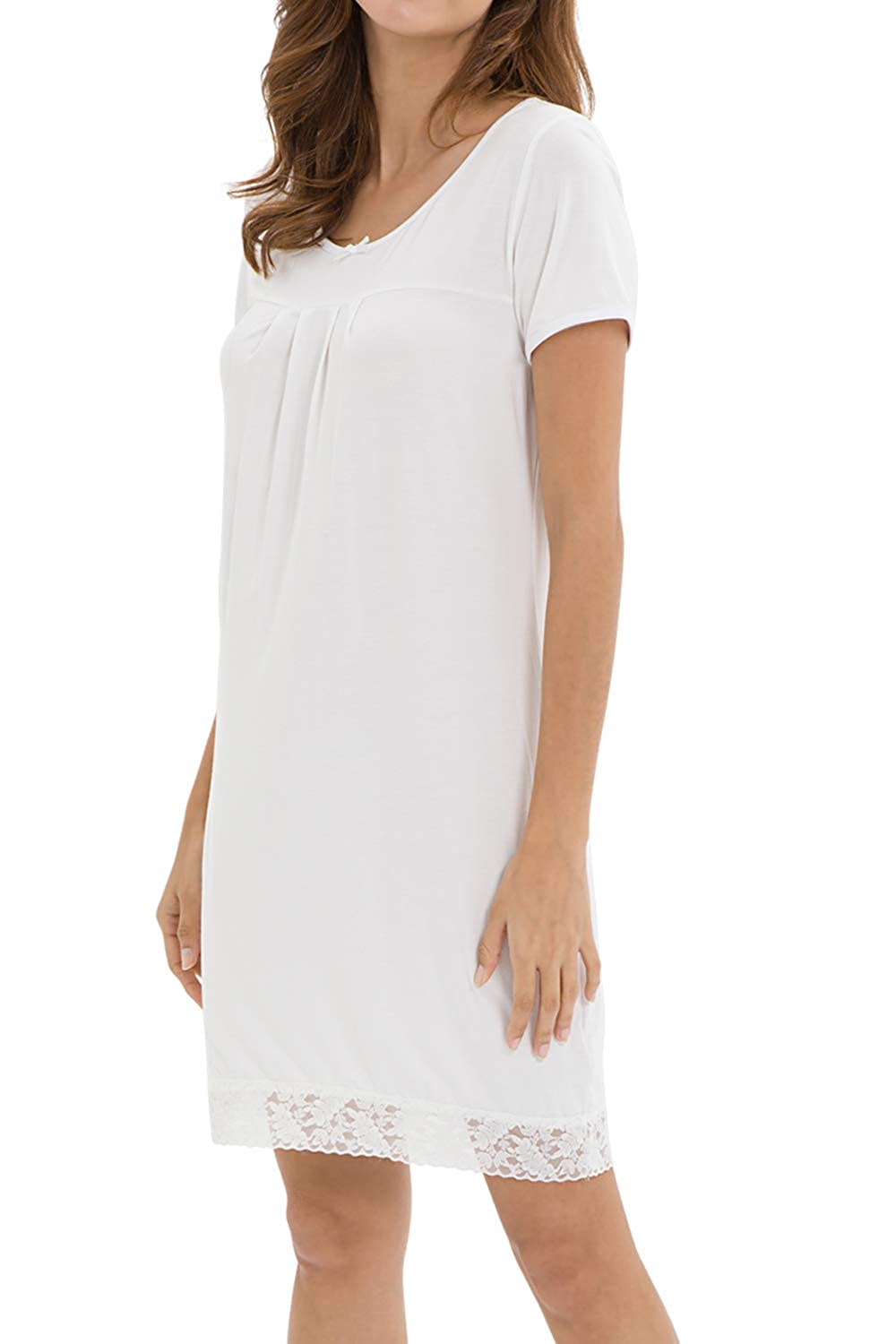 White WiWi Bamboo Lace Nightgowns Short Sleeve Nightshirts for Women
