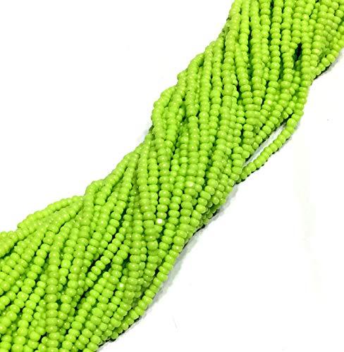 13/0 Full Hank Charlotte Cut Preciosa Czech Apple Green Glass Seed Beads