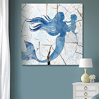 Square Blue Mermaid Wood Effect Gallery - Canvas Art Wall Decor-12 x12