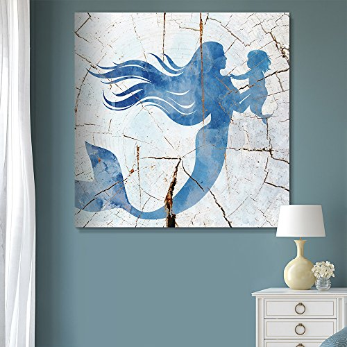 Square Blue Mermaid Wood Effect Wall Decor