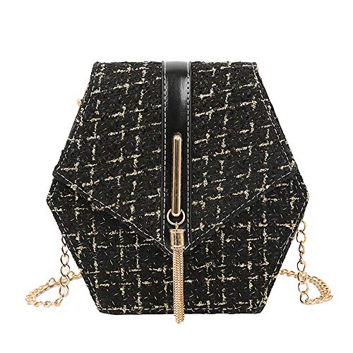 Hot Selling!!!♛HYIRI Women's Crossbody Shoulder Bag Chain Wool Diamond Fringe Small Square Bag from HYIRI
