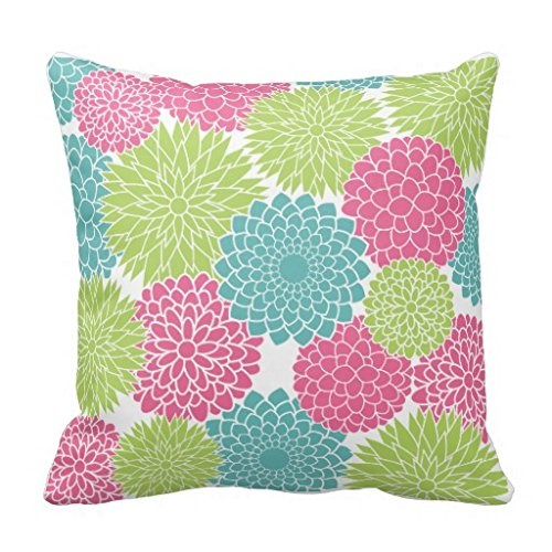 Comi Modern Lime Green and Hot Pink Flowers Home Decor Pillow Case Cushion Cover 20