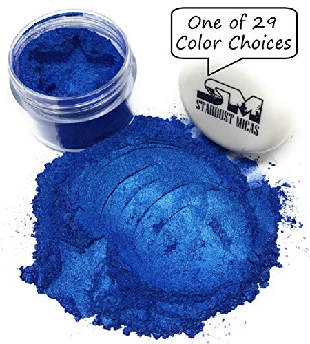 Stardust Micas Pigment Powder Cosmetic Grade Colorant for Makeup, Soap Making Dye, Resin, Epoxy, Nail, DIY Crafting Projects, Bright True Colors Stable Mica Batch Consistency Blue Ice