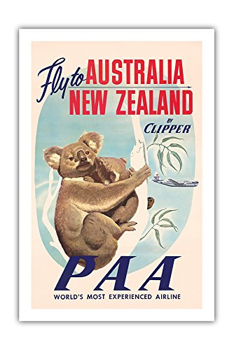 Australia, New Zealand - Pan American Airways (PAA) - Fly to Australia, New Zealand by Clipper - Koala Bears - Vintage Airline Travel Poster c.1950s - Premium 290gsm Giclée Art Print 24in x 36in ()