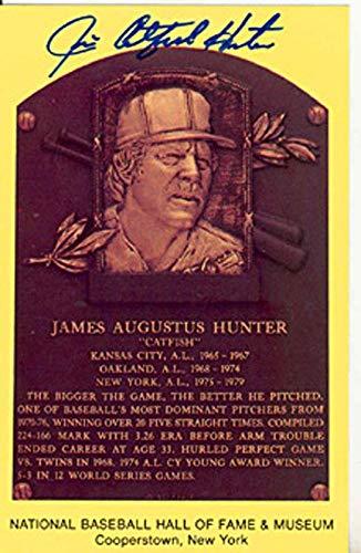 Jim Catfish Hunter Autographed Baseball HOF Plaque - Autographed MLB Photos