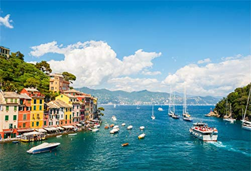 AOFOTO 5x3ft Beautiful View of Portofino Background Liguria Sea Coast Landscape Colorful House Photography Backdrop Italy Blue Sky Ship Pier European Architecture Mediterranean Scenery Italian Tour