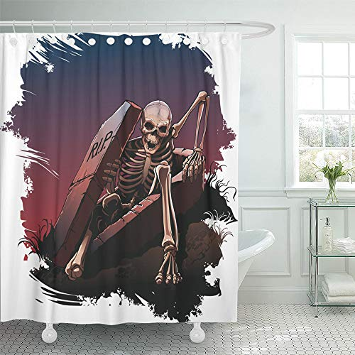 Emvency Shower Curtain Set Waterproof Adjustable Polyester Fabric Awake Skeleton from Coffin Body Bones Dark 60 x 72 Inches Set with Hooks for Bathroom -