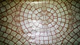 Mosaic Table Cloth Round 36'' to 48'' Elastic Edge Fitted Vinyl Table Cover Circular Pattern Terra Cotta