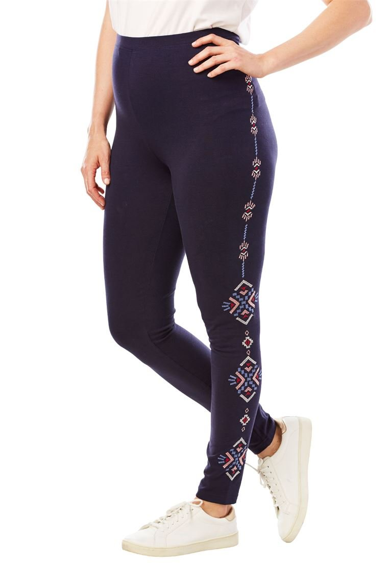 Woman Within Women's Plus Size Stretch Cotton Embroidered Legging