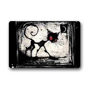 """Abstracto negro gato arte Doormats–Felpudo de entrada (Floor Mat felpudo alfombra para interiores/exteriores/puerta delantera/baño alfombrillas de goma antideslizante (23.6x15.7, """"L x W)"""