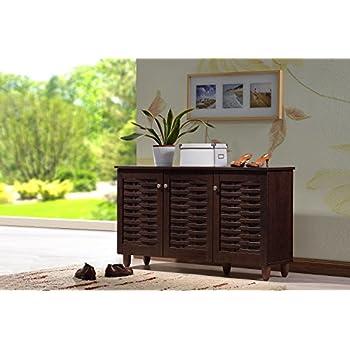Amazon.com: Baxton Studio Glidden Wood Modern Shoe Cabinet, Short ...