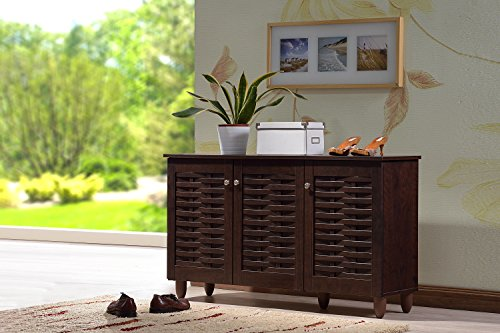 Striped Console Cabinet - Baxton Studio Wholesale Interiors Winda Modern and Contemporary 3-Door Dark Brown Wooden Entryway Shoes Storage Cabinet