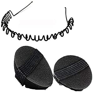 mahek accessories Set of 2 fashion Black Hair Puff Bumpits and ZigZag Hairband – For Girls, Womens