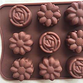 Gessppo 15-Cavity Silicone Cake Mold Flower Rose Chocolate Soap Mold Ice Tray Mold Baking Tools Resistant High Temperature Easy to Operate and Clean 102 ❤❤️Material:silicone-----Color:coffee-----Size:approx. 22 x 10.5 x 1.5cm; Diameter of each flower: approx. 2.9cm ❤❤️12 Cup Silicone Muffin - Cupcake Baking Pan / Non - Stick Silicone Mold / Dishwasher - Microwave Safe; 2Packs Silicone Mini Muffin Pan, Silicone Molds for Muffin Tins, Cupcake Baking Pan (Red);Ware Platinum Collection Heritage Bundt Pan ❤️❤️Reusable Silicone Baking Cups, Pack of 12; Silicone Cake Mold Magic Bake Snake-DIY Baking Mould Tool Design Your Pastry Dessert with Any Pan Shape, 4 PCS/lot Nonstick Flexible Reusable Easy to Use and Wash, Perfect Gift Idea for Your Love