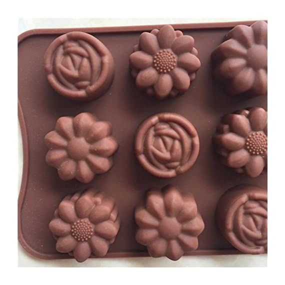 Gessppo 15-Cavity Silicone Cake Mold Flower Rose Chocolate Soap Mold Ice Tray Mold Baking Tools Resistant High Temperature Easy to Operate and Clean 1 ❤❤️Material:silicone-----Color:coffee-----Size:approx. 22 x 10.5 x 1.5cm; Diameter of each flower: approx. 2.9cm ❤❤️12 Cup Silicone Muffin - Cupcake Baking Pan / Non - Stick Silicone Mold / Dishwasher - Microwave Safe; 2Packs Silicone Mini Muffin Pan, Silicone Molds for Muffin Tins, Cupcake Baking Pan (Red);Ware Platinum Collection Heritage Bundt Pan ❤️❤️Reusable Silicone Baking Cups, Pack of 12; Silicone Cake Mold Magic Bake Snake-DIY Baking Mould Tool Design Your Pastry Dessert with Any Pan Shape, 4 PCS/lot Nonstick Flexible Reusable Easy to Use and Wash, Perfect Gift Idea for Your Love