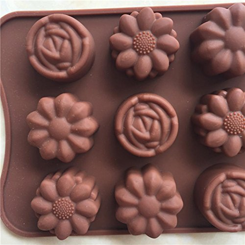- Gessppo 15-Cavity Silicone Cake Mold Flower Rose Chocolate Soap Mold Ice Tray Mold Baking Tools Resistant High Temperature Easy to Operate and Clean