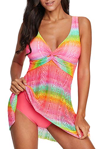 (momolove Women's One-Piece Swim Dresses Printed V Neck Swimsuit Modest Skirted Swimwear Rose S)