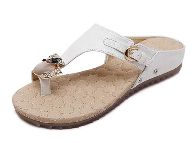 Sandali infradito con cinturini piatto fibbia Spiaggia Vacanza Estate