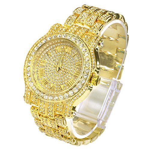 Naivo Totally Iced Out Pave Gold Tone Hip Hop Men's Bling Bing Watch