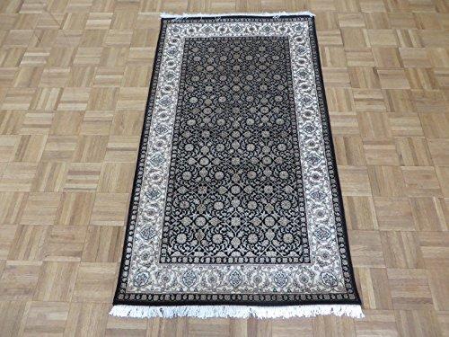 Fine Silk Rug - 3 x 5'3 Hand Knotted Black Fine Herati Tabriz Oriental Rug with Silk G5009